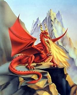 Fire Red Dragon Wall Decor Mythical Sue Dawe Fantasy Art Print Poster (16x20)
