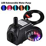 Coldshine 15W 700L/H Electric Submersible Water Fountain Pump Submersible With Ultra-Quiet 12LED Light Pond...