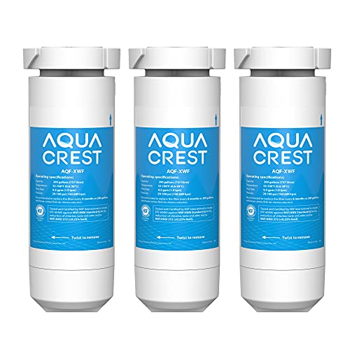AQUACREST XWF NSF Certified Refrigerator Water Filter, Compatible with GE XWF, Pack of 3 (Packaging may vary)