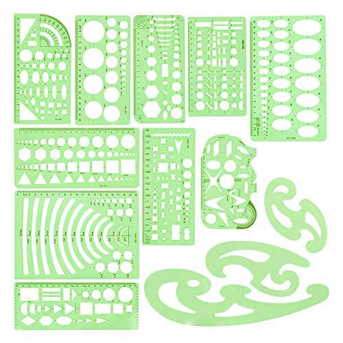 Technische Zeichnung Set, Kreis Vorlage, Geometrische Zeichnungen Vorlagen Grün Kunststoff Klar Lineale Geometrische Lineale Vorlagen Mess 13 Stück