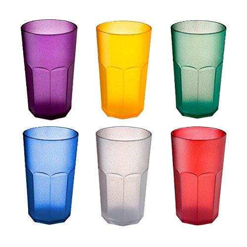 Juego de 6 vasos de colores de policarbonato transparente, forma octogonal, fabricado...
