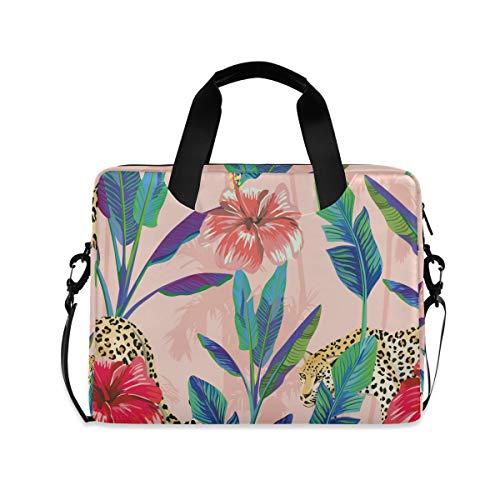 iRoad 15.6 InchLaptop Bag Case Vintage Flower Banana Leaf Computer Case Laptop Sleeve Case with Shoulder Strap Bag for Women Men