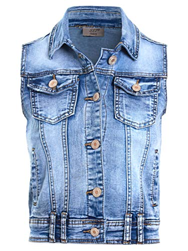 SS7 Womens Denim Gilet Jacket Dames Stretch Jean Waistcoat Maat 8 10 12 14 Blauw
