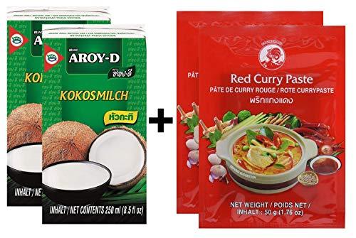 2 confezioni di latte di cocco AROY-D [2x 250ml] Cocosmilc - latte di cocco + pasta di curry al gallo rosso 2x50g