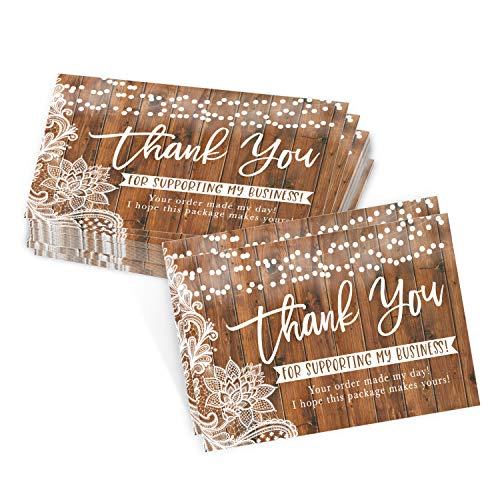"""25 Wood Lights Thank You Cards for Small Business, We Appreciate You Supporting My Business Customer Appreciation Note Cards, Mini Thanks You Made My Day Cute & Rustic Purchase Order Inserts, 3.5x5"""""""