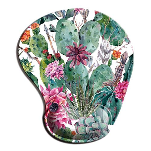 Dooke Ergonomic Mouse Pad with Wrist Support, Cute Mouse Pads with Non-Slip Rubber Base for Home Office Working Studying Easy Typing & Pain Relief Cactus
