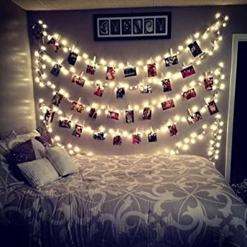 Amazon Com 20 Led Photos Clips String Lights 10ft Warm White Aostar Battery Operated Fairy String Lights For Bedroom Hanging Photos Cards And Artworks Garden Outdoor