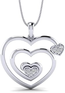 Women's 0.09ct Natural Diamond Gold Plated Silver Heart Shaped Diamond Pendant Necklace 18