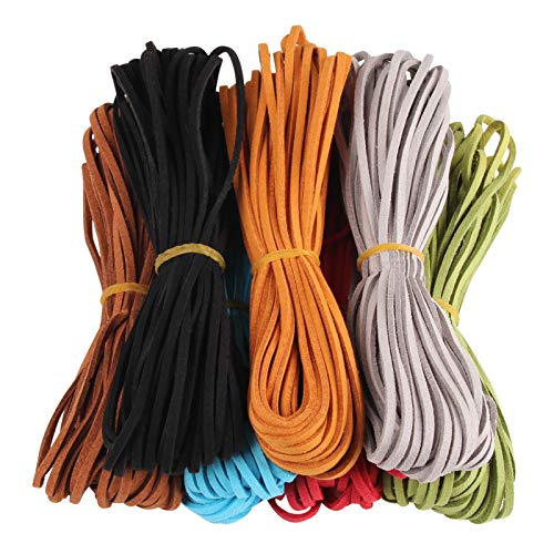 Micro-Fiber Flat Leather Lace Beading Thread Faux Suede Cord String for Jewellery Making Bracelet Necklace DIY Craft(7 Colors, 9.2m/roll) (Dark)