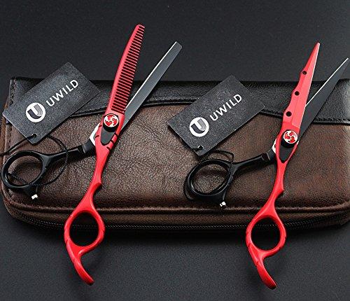 UWILD®Professional Haarschere tijeras de peluquería Juego de tijeras profesionales del pelo Set de tijeras de peluquería Juego de 6 pulgadas 17,5 cm (juego de 2) Incluye bolsas y peine (Black and Red)