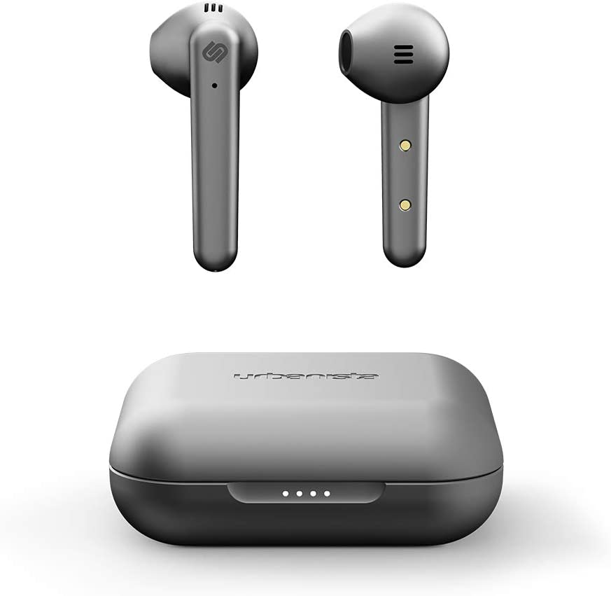 Urbanista Stockholm Plus True Wireless Earbuds - Over 20 Hours Playtime, IPX4 Waterproof Earphones, Bluetooth 5.0 Headphones, Touch Controls & Enhanced Microphone for Clear Calling, Titanium