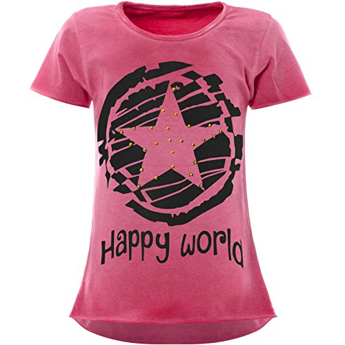 BEZLIT Stern-Print Mädchen Kinder T-Shirt Kunst-Perlen Kurzarm Shirt 22158 Rosa Größe 152
