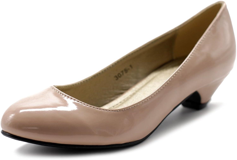 Ollio Women's shoes Classic Low Heel Comfort Enamel Pump