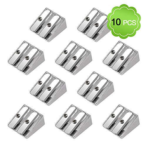 MENOLY 10 Pack Metal Pencil Sharpeners Double Hole Sharpener Small Pencil Sharpener Manual Hand Pencil Sharpener, Silver
