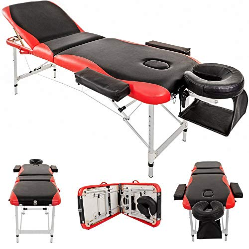 Massage Table Couch Bed Aluminium Deluxe Lightweight Professional Beauty Tattoo Spa Reiki Portable Folded 3 Section with Premium PU Leather and 5 cm High Density Multi-Layer Foam Headrest Arm support and Carrying Bag Red (213cm/15kg/Load capacity 250 kg)