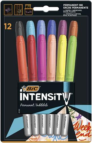 Rotuladores de colores permanentes BIC de punta fina (varios colores), 12unidades