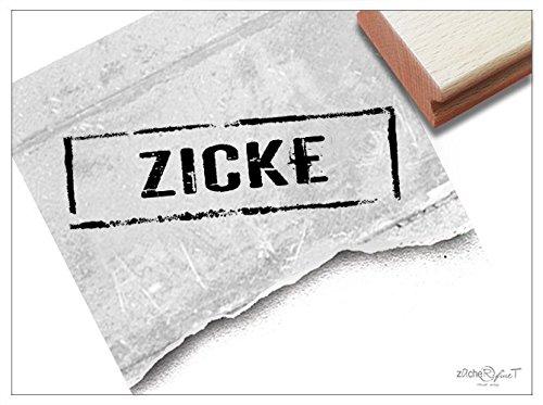 Stempel - Textstempel ZICKE im Poststempel- Look - Schriftstempel Sprüchestempel für freche Mitteilungen Scrapbook Spaß Deko - zAcheR-fineT
