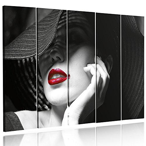 Feeby Frames, Grande Formato Quadro multipannello di 5 Pannelli, Quadro su Tela, Stampa Artistica, Canvas XXL, 120x250 cm, Tipo C, Donne Labbra Rosse, Cappello Bianco Nero