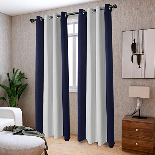 LORDTEX Color Block Blackout Curtains for Bedroom - Insulated Thermal Drapes, Sun Light Blocking & Noise Reducing Grommet Window Panels for Living Room, 2 Panels, 50 x 63 Inch, Navy/Greyish White