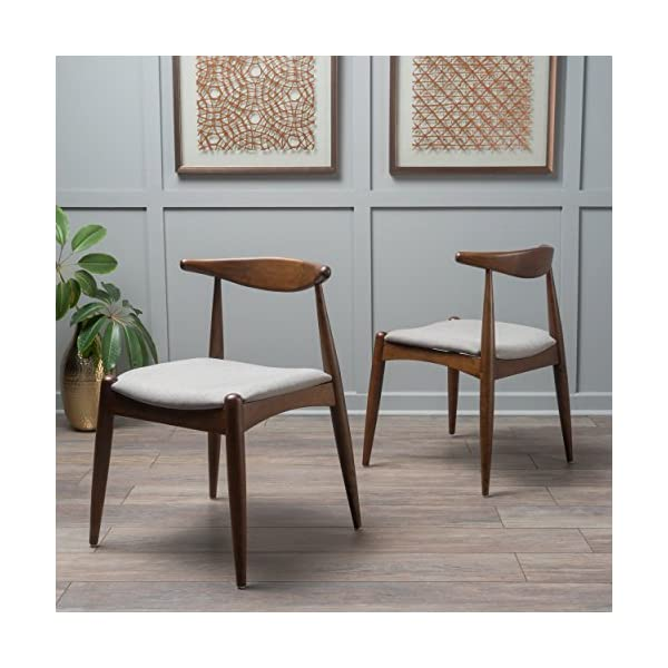 Christopher Knight Home Francie Fabric with Walnut Finish Dining Chairs, 2-Pcs Set, Dark Beige / Walnut