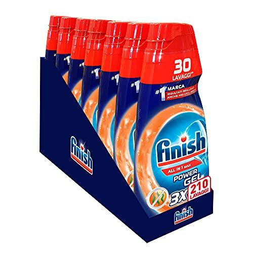 Finish Powergel Gel Detersivo per Lavastoviglie Liquido, Multiazione, Anti-odore, 210 Lavaggi, 7 Confezioni da 30 Lavaggi