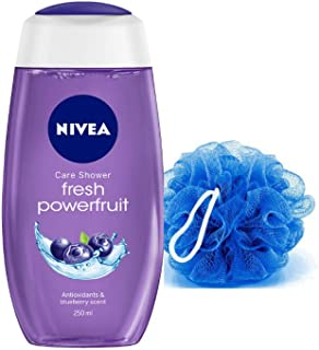 NIVEA Fresh Powerfruit Shower Gel, 250 ml with Free Loofah
