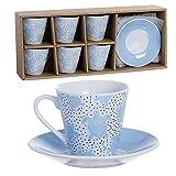 Eideo Home Juego Desayuno Conjunto Cafe 6 Tazas con Platos 90 ml