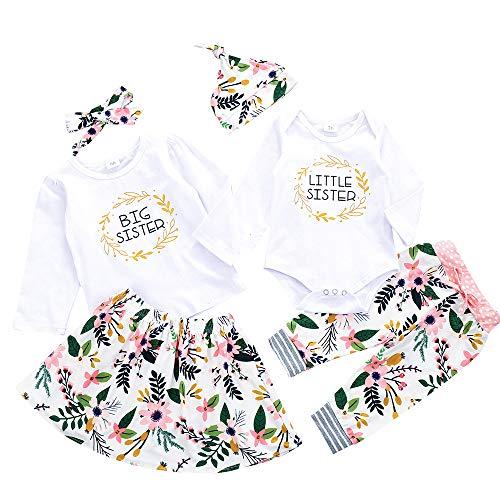 Winmany Kleinkind Baby Mädchen Schwester Matching Outfits Strampler Blumenhose Rockkleid (Lange Ärmel, 3-4 Jahre)