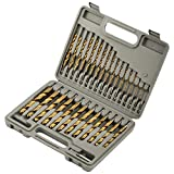 COMOWARE Titanium Impact Drill Bit Set - 30 Pcs Hex Shank HSS, Quick Change Design, 1/16'-1/2'