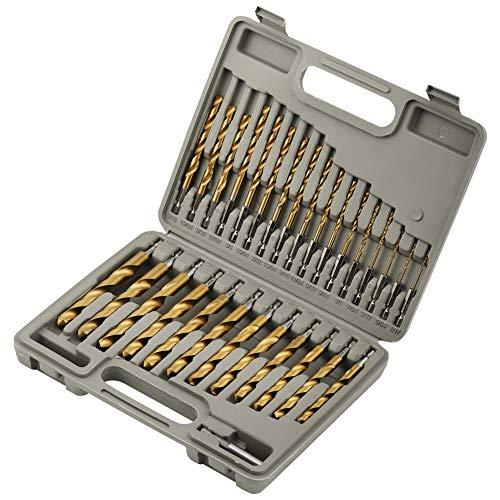 COMOWARE Titanium Impact Drill Bit Set - 30 Pcs Hex Shank HSS, Quick Change Design, 1/16-1/2