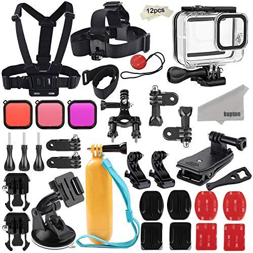 Kupton Zubehörset kompatibel mit GoPro Hero 8 Zubehörpaket, Wasserdichtes Gehäuse + Filter + Kopfbrustgurt + Saugnapfhalterung + Fahrradhalterung + Schwimmgriff kompatibel mit GoPro Hero 8