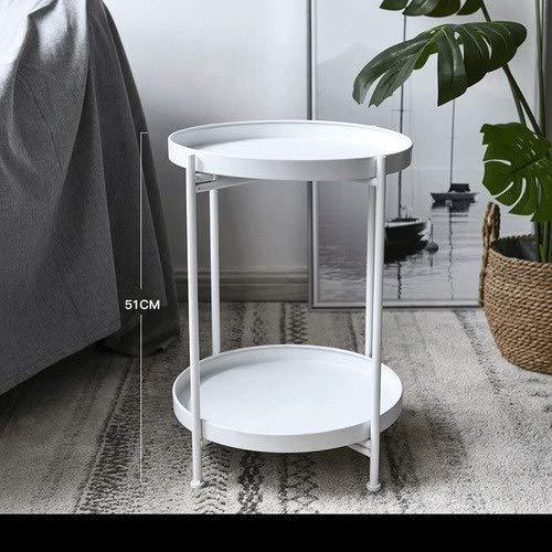 GYHUJI Lazy - Mesita de noche plegable de metal, mesa redonda, mesa auxiliar, bandeja desmontable, multiusos, estante de almacenamiento para muebles de hogar (color : 2 capas blancas)