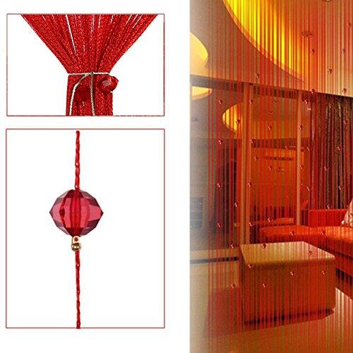 Demiawaking Dekorative String Vorhang Perlen Wand Panel Fringe Zimmer Tür Fenster (Rot)