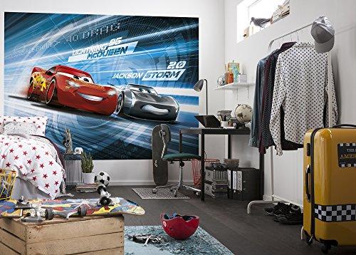Komar 4-423 Disney-Fototapete Cars 3 SIMULATION-254x184cm-Tapete, Wand Dekoration, Rennwagen, Auto, Sportwagen-4-423, Bunt, 254 x 184 cm, 4 Teile