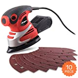 Hi-Spec 200W Palm Detail Orbital Mouse Sander & 10pc Sanding Pad Kit for Removing Paint, Varnish, Stains, Preparing Furniture, Polishing, Smoothing Out & Sanding Down Wood