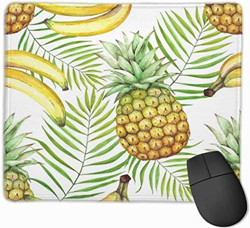 Grüne Blätter Bananen Ananas Mauspad für Laptop Rechteckiges rutschfestes Gaming-Mousepad Personalisiertes lustiges Bürogeschenk