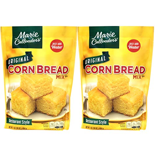 """Marie Callender's CornBread Mix, Original Flavor, 1LB BAG. Just Add Water, Mix, and Bake. Makes 8"""" Loaf (Pack of 2)"""