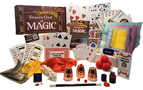 Best Magic Tricks for Kids 8+ Magic Kit with Magic Cards, Coins, Balls, Color Changing Scarves, Rising Wand and More - The Amazing Treasure Chest of Magic Set - Complete Course with Video Lessons
