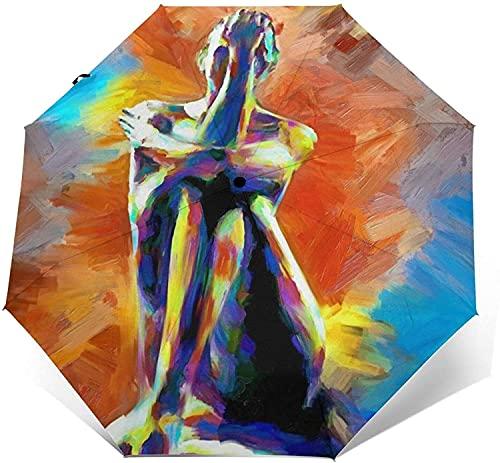 Automatischer Dreifach Gefalteter Regenschirm Personalisierter Wasserdichter Sonnenschutz Robuster Winddichter Trip Leichte Regenschirme Für Frauen Und Männer - Nackte Yoga-Einheitsgröße, Grünes Gra