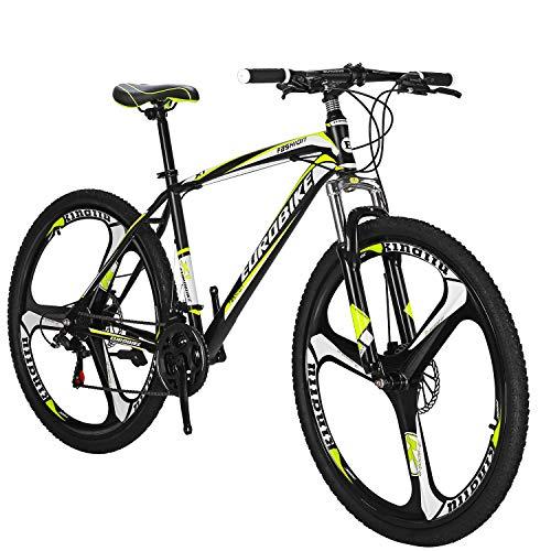 OBK 27.5 Wheels Mountain Bike Daul Disc Brakes 21 Speed Mens Bicycle Front Suspension MTB (Yellow Mag Wheels)