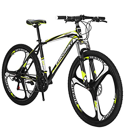 Eurobike OBK 27.5 wheels Mountain bike Daul Disc Brakes 21 Speed Mens Bicycle Front Suspension MTB (Yellow Mag wheels)
