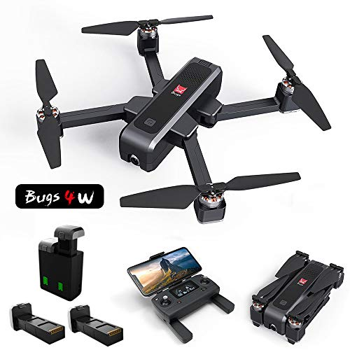 MOSTOP MJX B4W Drone 5G WiFi FPV Camera Drone B4W RC Quadcopter GPS Foldable Full HD 2K Video Record Altitude Hold Track Flight Double Charging App Remote Control 2 Battery (Black Mjx B4W + Carton)