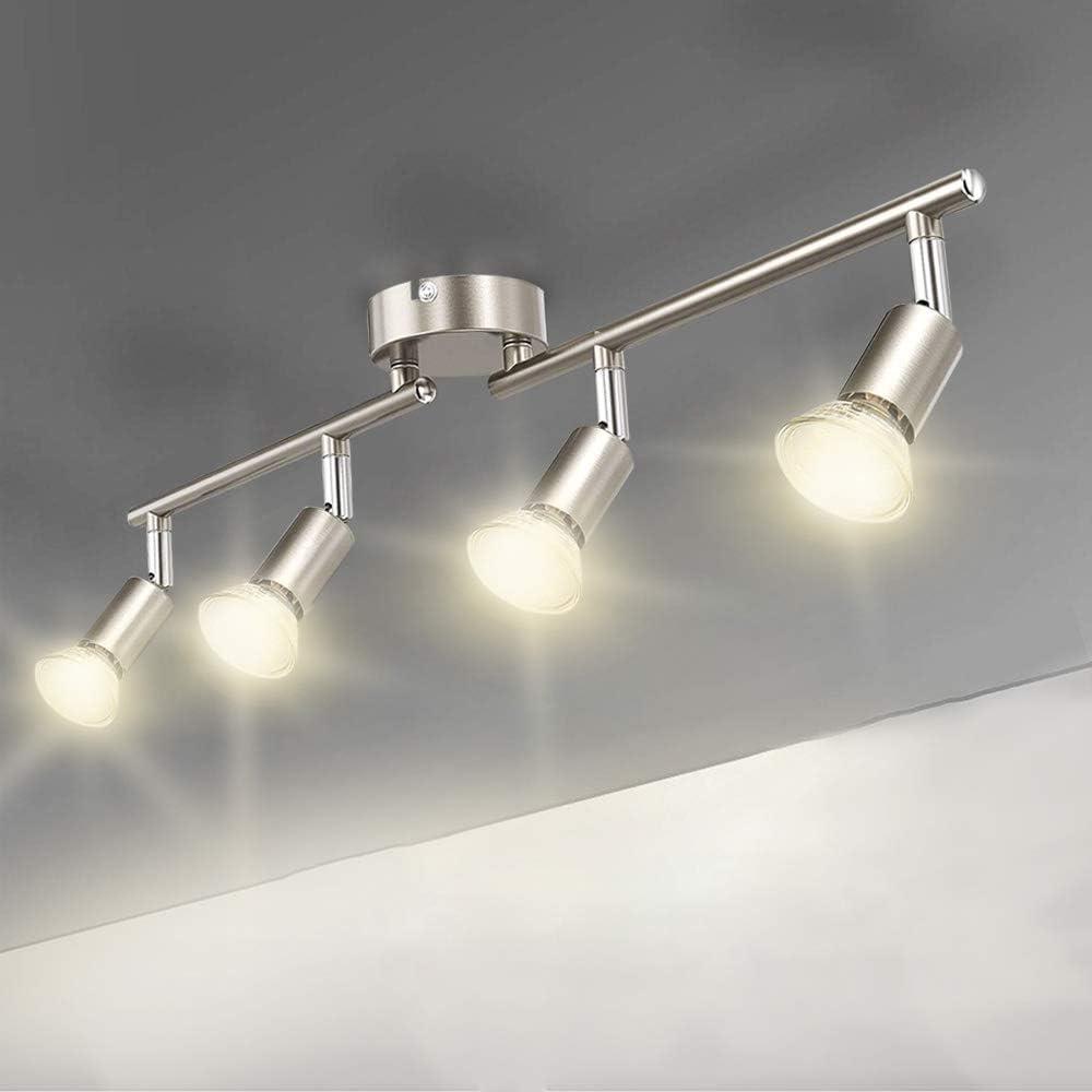 9 Way Straight Bar Ceiling Spotlight Rail, Led Ceiling Lights Warm White  for Kitchen, Living Room, Bedroom. Including 9 GU 9 Led Bulbs [Energy ...