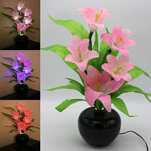 TRONJE LED Flor Artificial Lirio 49cm Ramo de Lilium con Maceta 5 Flores Fibras ópticas 3W Cambio de Color
