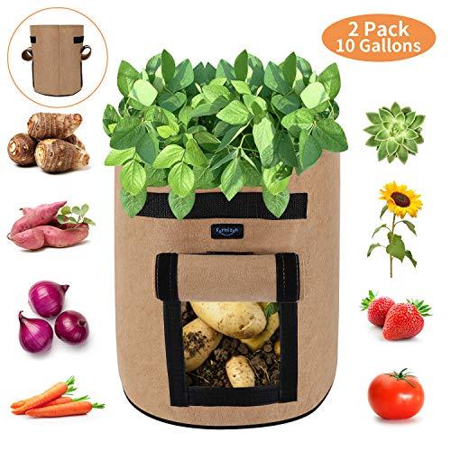 FORMIZON 2er Pack Pflanzen Tasche, Kartoffel Pflanzsack, Dauerhaft AtmungsaktivBeutel mit Zwei Fenster, Klettverschluss, Tragegriffen für Kartoffel, Karotte, Tomate (10 Gallonen Khaki)