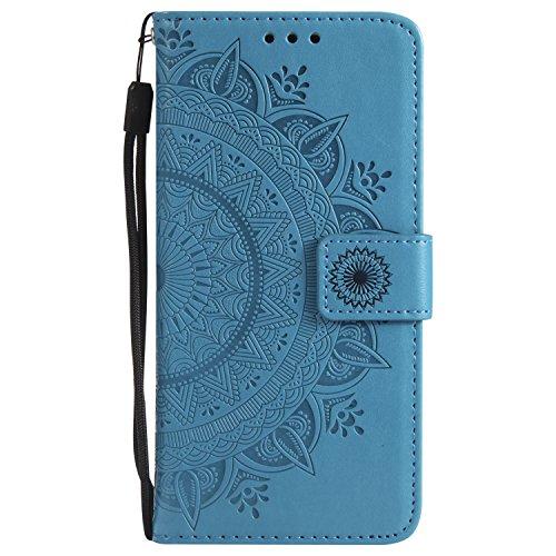 Lomogo Samsung Galaxy S7 / G930 Hülle Leder Totemblume, Schutzhülle Brieftasche mit Kartenfach Klappbar Magnetverschluss Stoßfest Kratzfest Handyhülle Case für Samsung Galaxy S7 - LOHHA10618 Blau