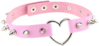 Multicolor Heart Ring Rivet PU Simulated Leather Spiked Necklace Neckband Choker (14 Colors)