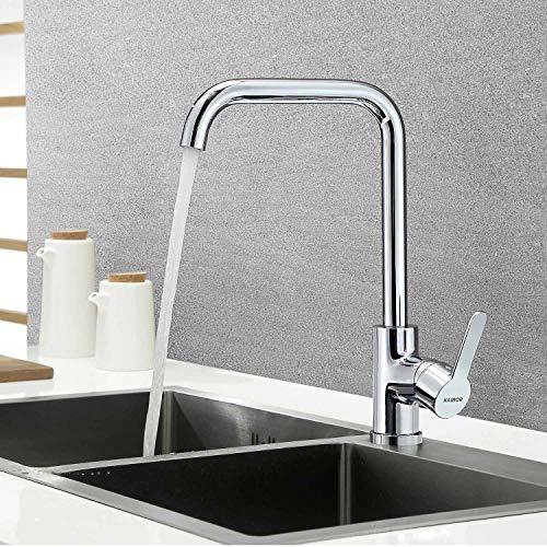 KAIBOR Chrom Küchenarmatur 360° Drehbar Wasserhahn Küche, Einhebelmischer Spültisch Armatur für Küche Spüle, Messing Verchromt Spültischarmatur Mischbatterie für Spülbecken