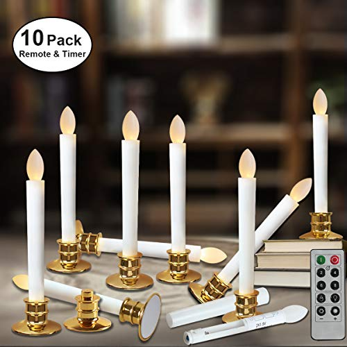 Window Candles with Remote Timers Battery Operated Flickering Flameless Led Electric Candle Lights with Removable Tapers Pillar Candle Holders for Christmas Decorations 10pcs Gold Base