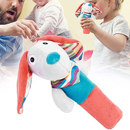 Juguetes de agarre manual para bebés, colores suaves, sonidos suaves seguros, juguetes para bebés, formas lindas para 3 años + bebés de 3 años + bebé(Blue Orange Puppy BB Stick)